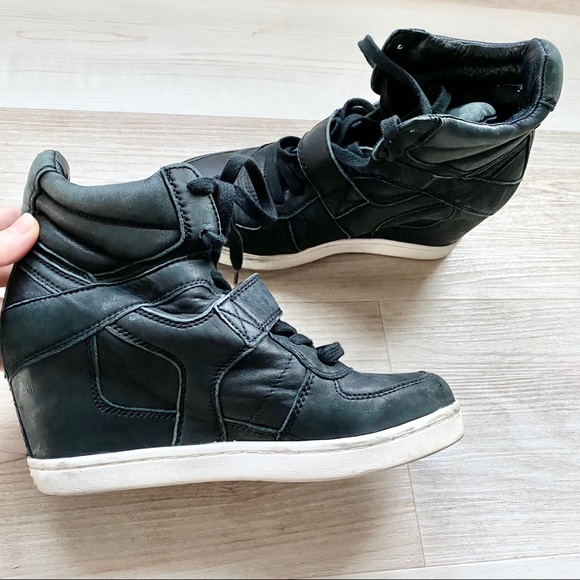 Ash Shoes | Black Wedge Leather Sneaker